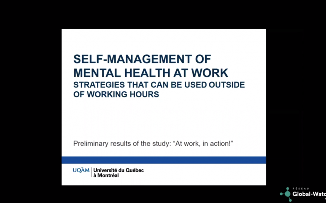 Video 2 of 2: Self-management of mental health at Work – strategies that can be used outside of working hours